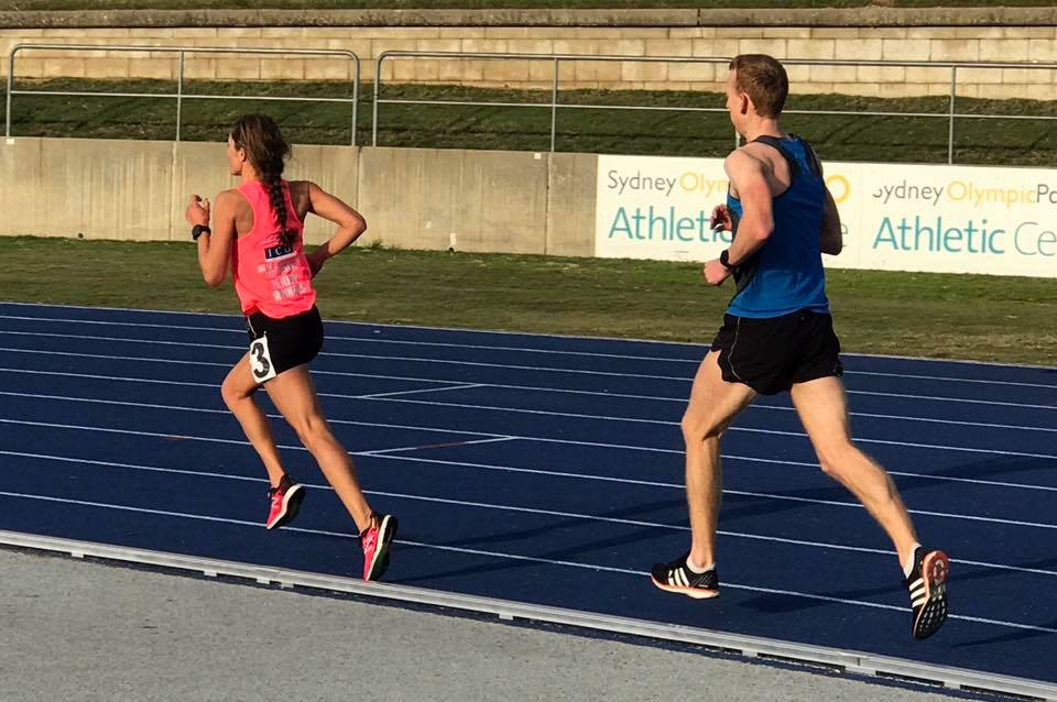 Greta Truscott and John Bartlett in the Nitro Community Track 5000m at Homebush Athletics Track June 2017