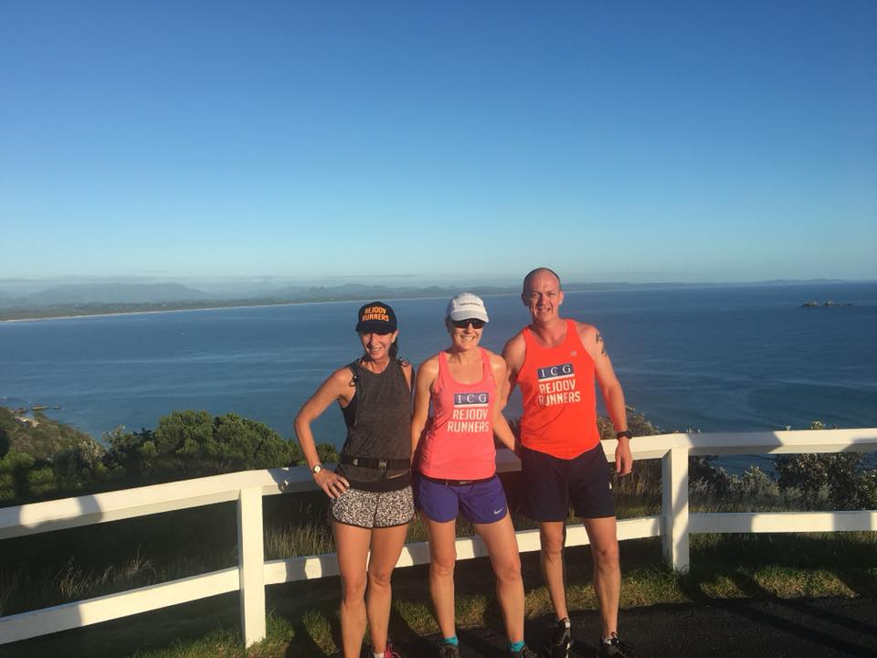 Adrienne Taylor, Lisa Sherman (centre) & hubby Grant Sherman holiday training at Byron Bay