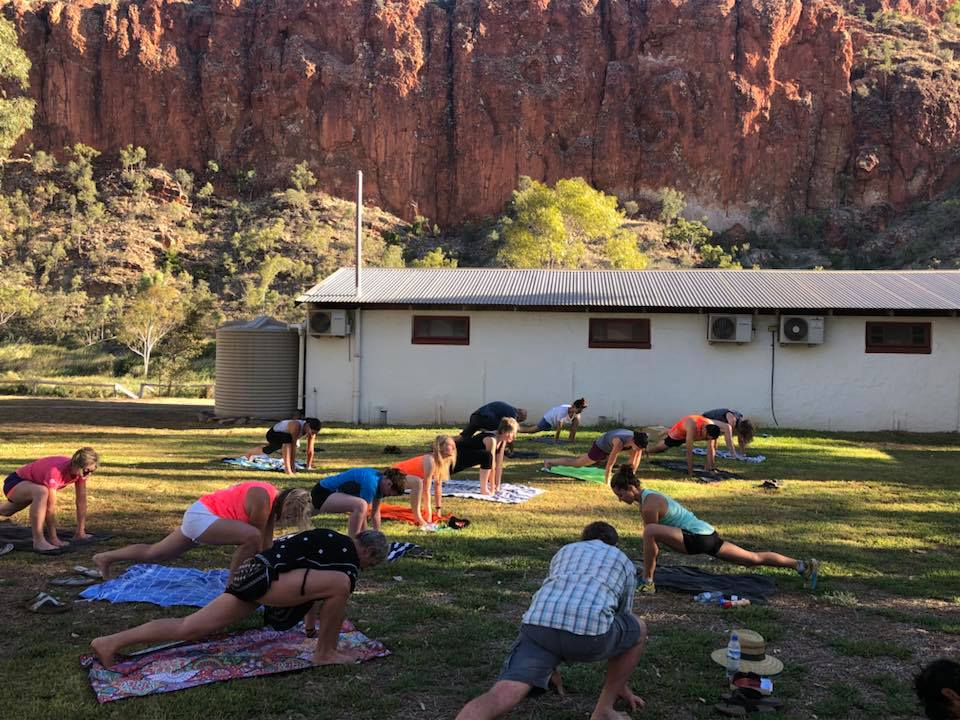Group stretch at Glen Helen outback resort