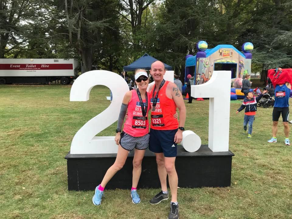 Lisa & husband Grant both smashing their Canberra half marathons April 2018