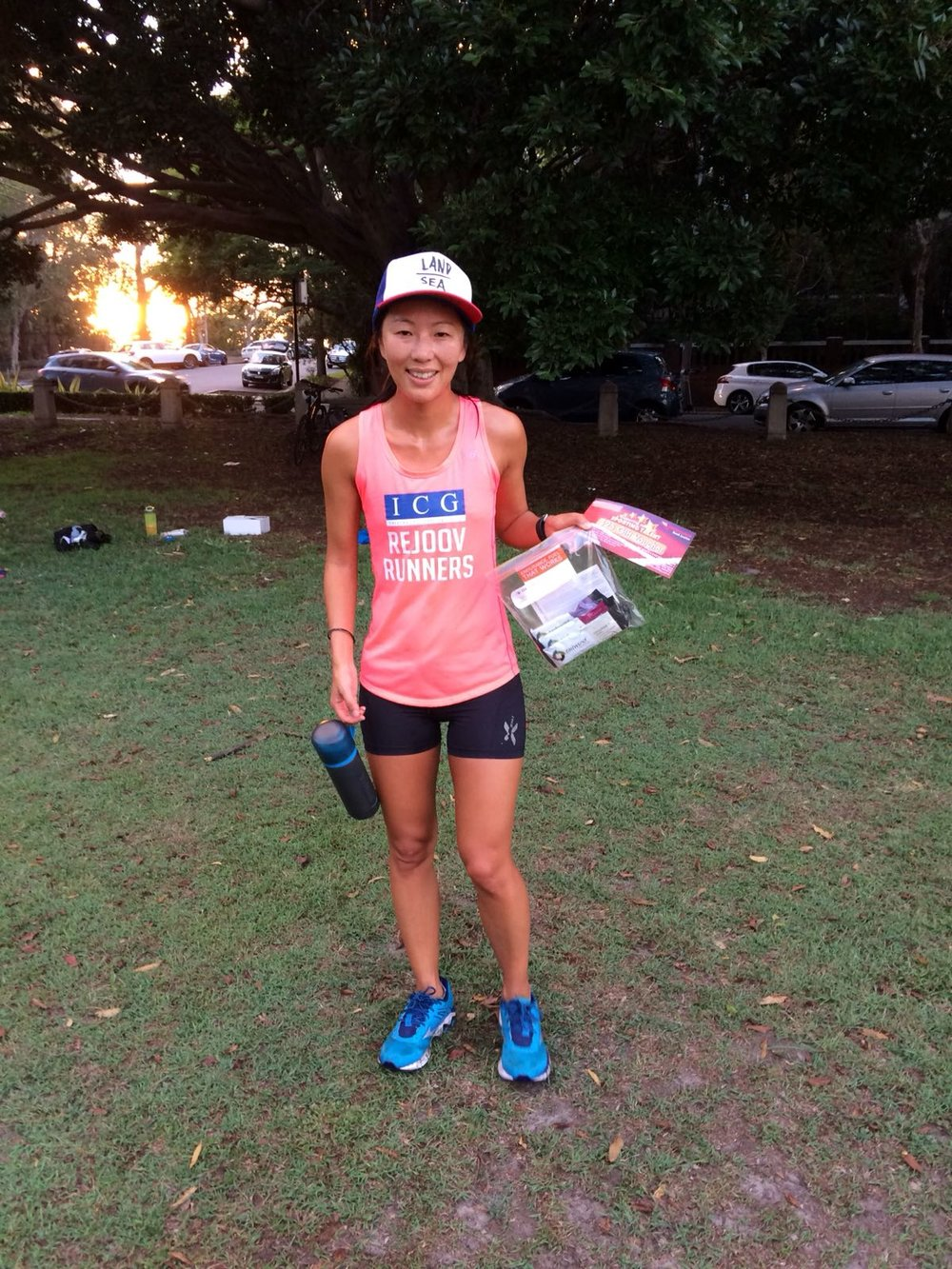 Rachel birds with runner of the month prizes from tailwind nutrition