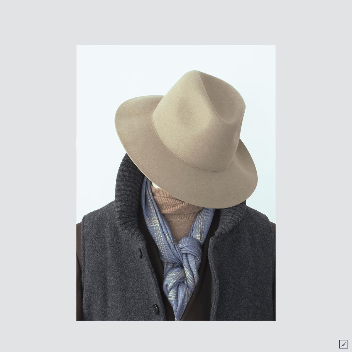 la-stoffa :     tan & indigo    Hat - Rabbit felt rollable     Woven scarf - Double windowpane