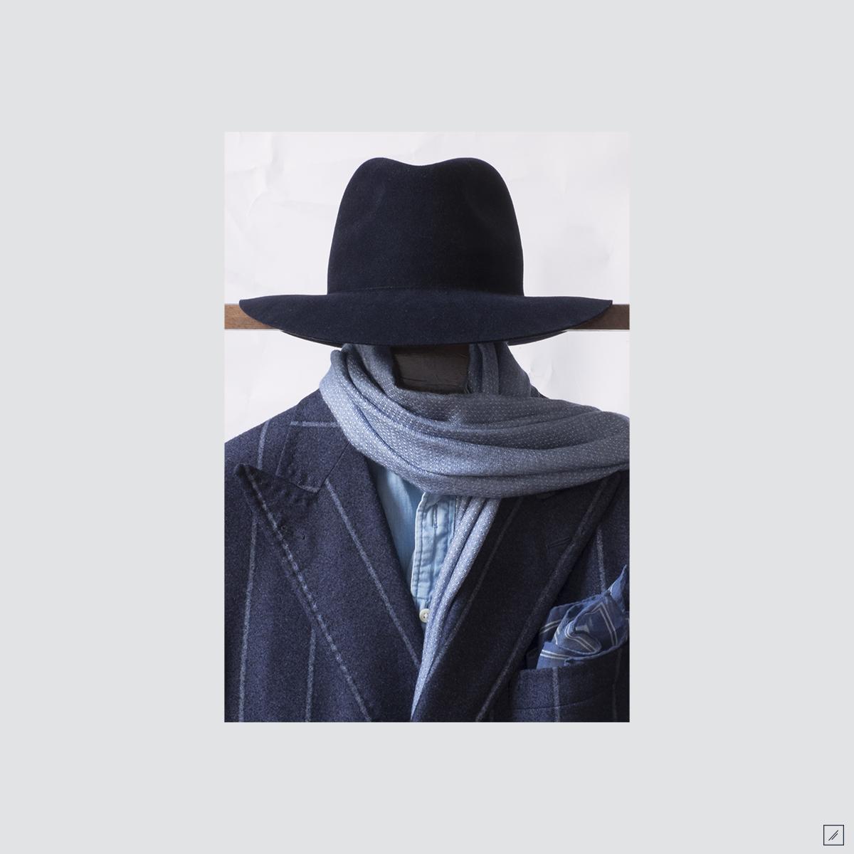 la-stoffa :     Blu    Hat - Rabbit felt rollable     Woven scarf - Double sided reverse pin dot     Pocket square - Diamond tiles on a bias