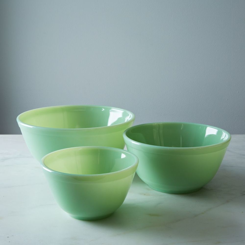 These bowls are from here but we have a large collection of glassware in the store from bowls to butterdishes in lots of colors not just green.