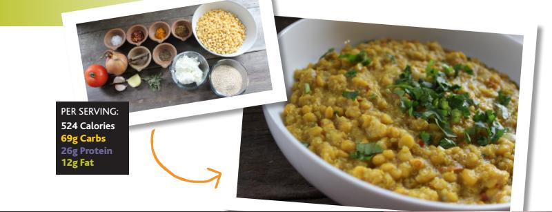 Creamy quinoa & yellow split pea curry