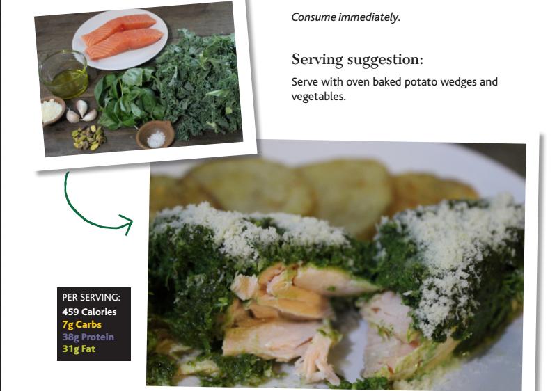 Kale pesto baked salmon