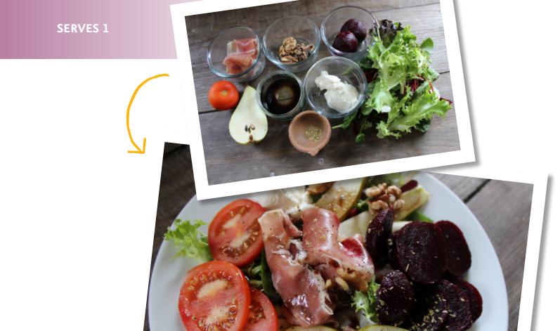 Pear, Parma ham & beetroot salad