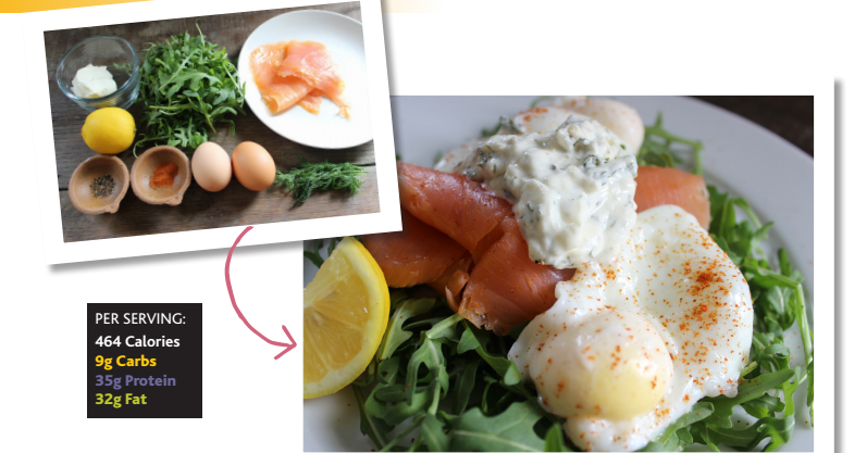 Smoked salmon & eggs with a creamy dill sauce