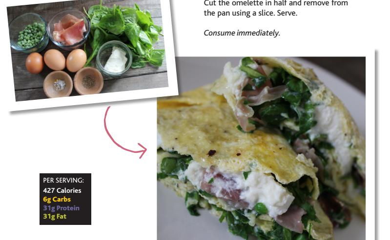 Creamy Parma ham, pea & spinach omelette