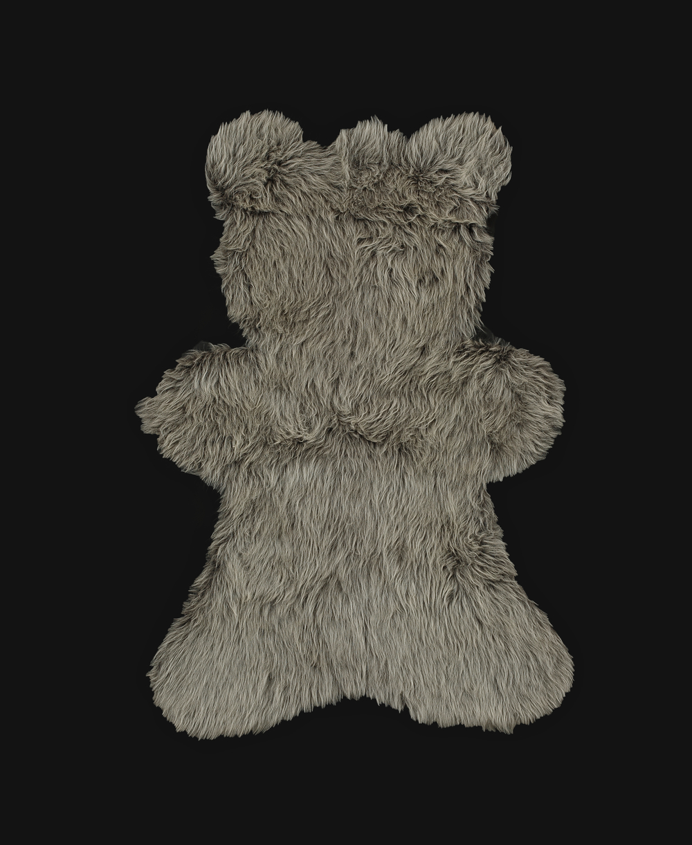- Long Pile Rug - Melange Grey - Teddy Bear Shaped