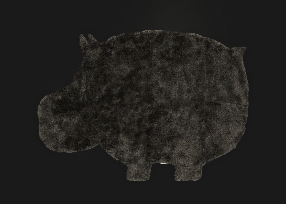 - Short Pile Rug - Grey - Hippo Shaped