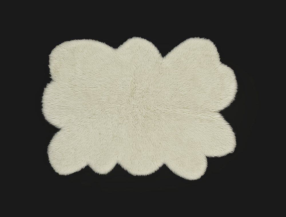 - Short Pile Rug - Beige - Cloud Shaped