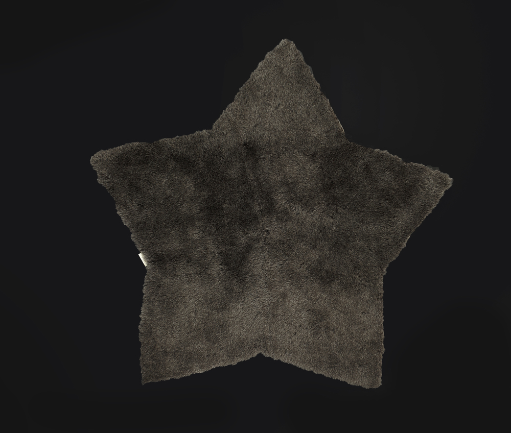 - Short Pile Rug - Grey - Star Shaped