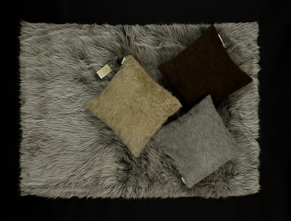 - Long Pile Rug - Melange Grey     - Mixed Colour Cushions