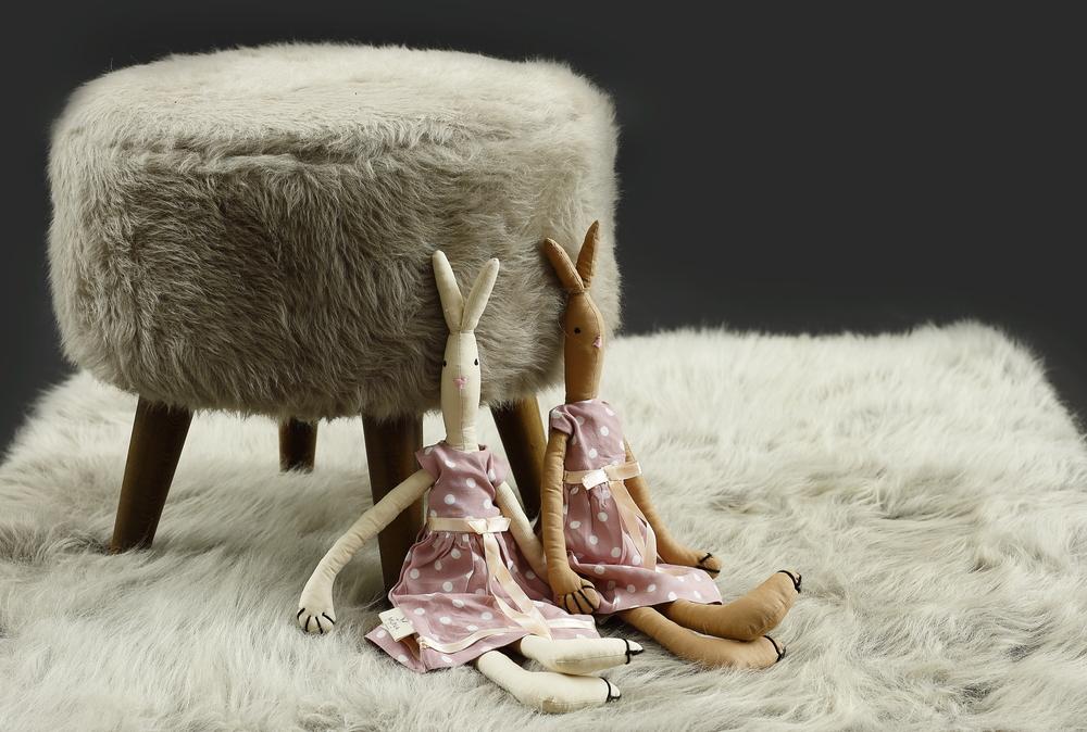 - Pouf Stone Grey Ø 45 cm /17.7 Inch, H. 40 cm / 15,7 Inch.     - Handmade Bunny Doll, High 50 cm - 20 Inch Approx.     - Stone Grey Rug