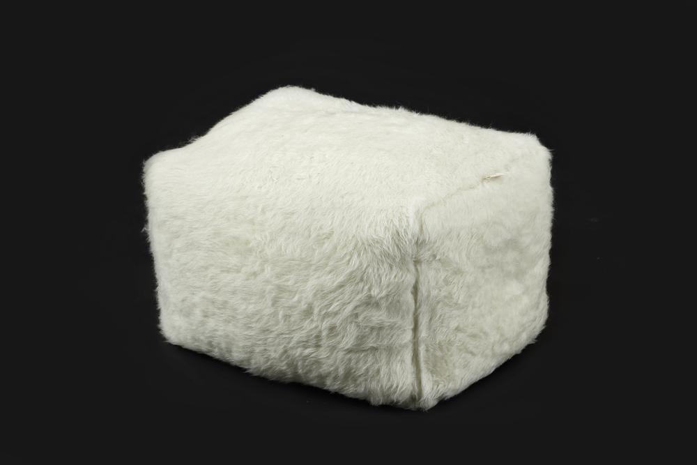 - Square Pouf Short pile - White - 60x40 cm, H.40 cm - 23,6x15,7 Inch,H. 15,7