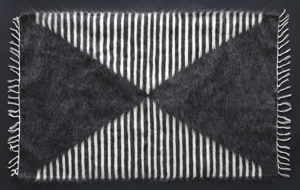 Rug of Mohair of Angora goat - Sand Glass Stripes