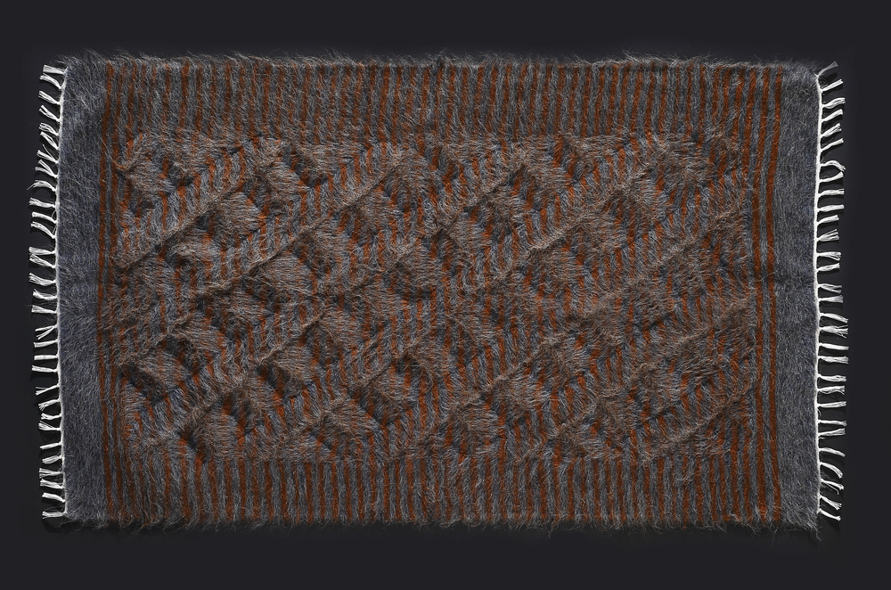 Rug of Mohair of Angora goat - Grey & Brown