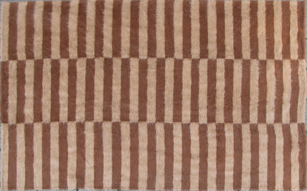 Rug of Mohair of Angora goat -   Ripetitivo Brown & Camel