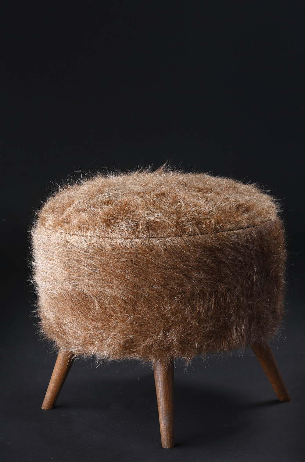 Pouf of Mohair of Angora goat - Camel