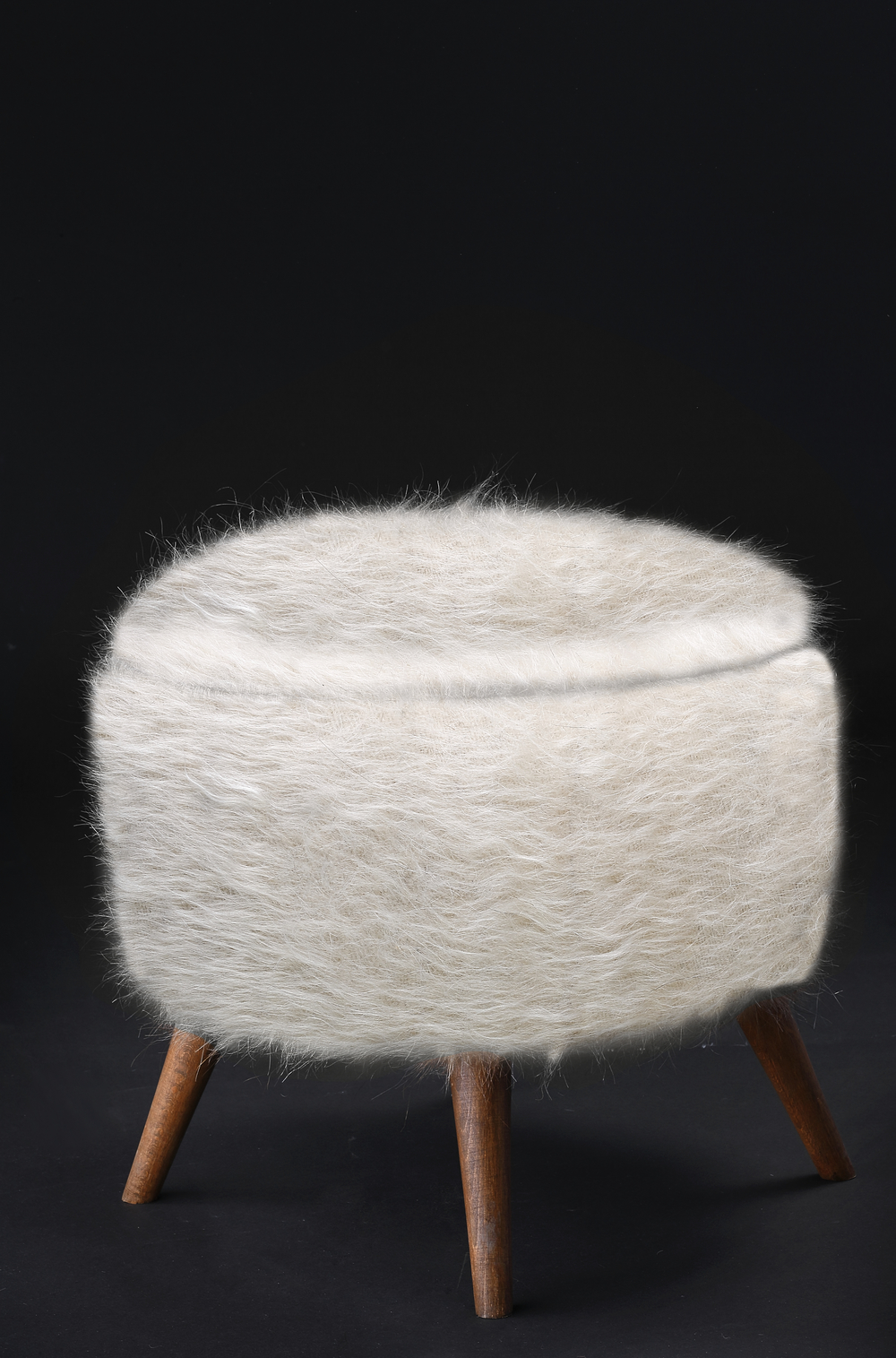 Pouf of Mohair of Angora goat - White