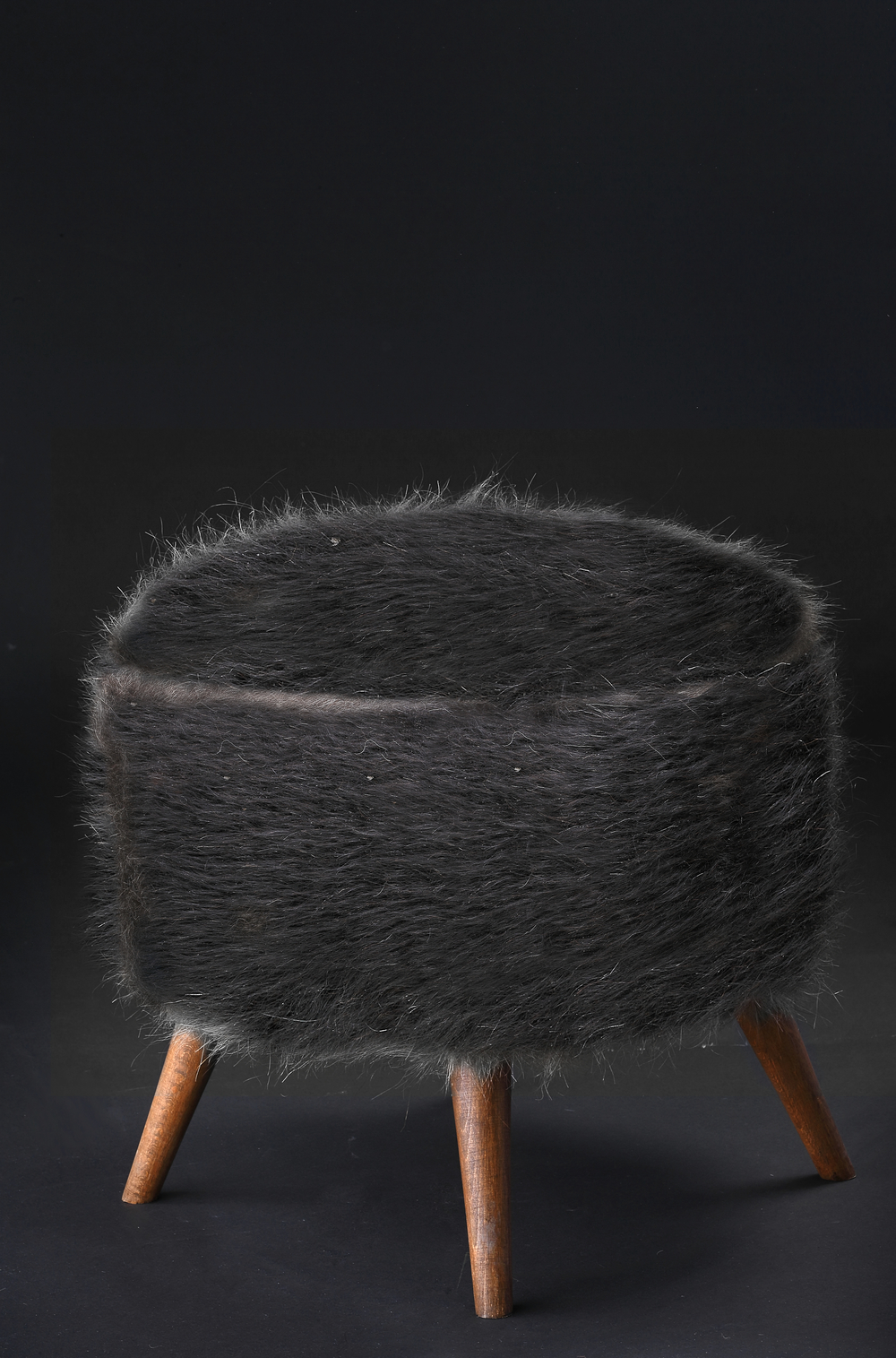 Pouf of Mohair of Angora goat - Black