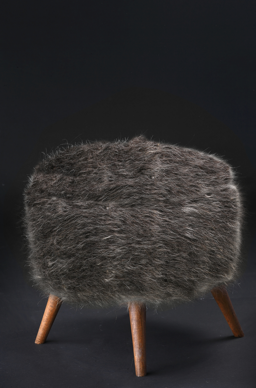 Pouf of Mohair of Angora goat - Grey