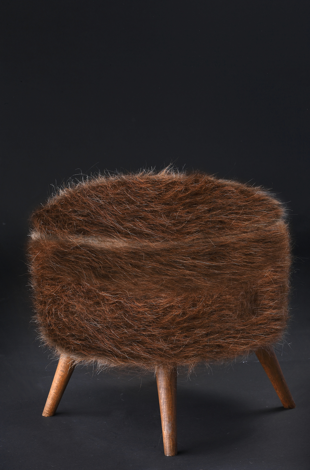 Pouf of Mohair of Angora goat - Brown