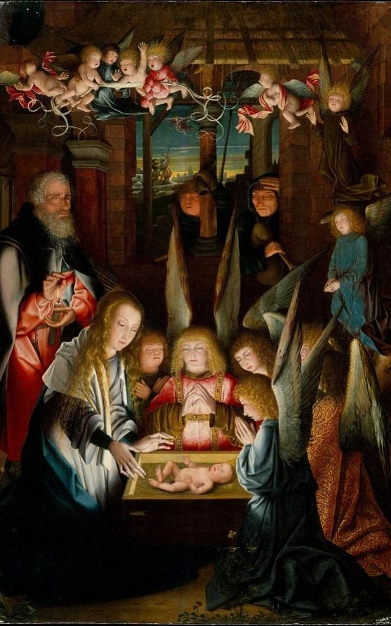 "Quadro "" The Adoration of the Crist Child "" no MMA em Nova Iorque mostra dois personagens aparentemente com Síndrome de Down."