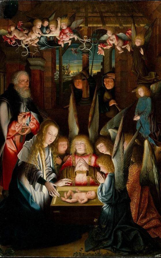 """Quadro """"The Adoration of the Crist Child"""" no MMA em Nova Iorque mostra dois personagens aparentemente com Síndrome de Down."""