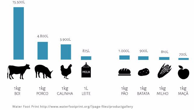 Consumo de água para a produção de 1 kg de alimento