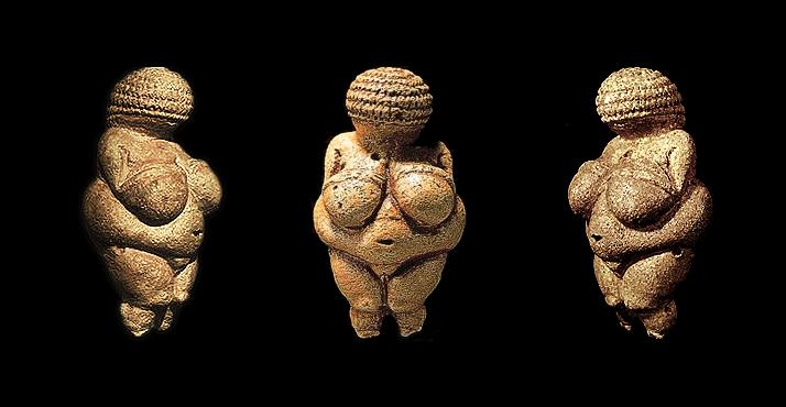 Vênus de Villendorf. Datação: 24.000 a 27.000 anos de idade