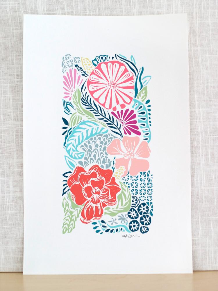 Flora Woodblock Print