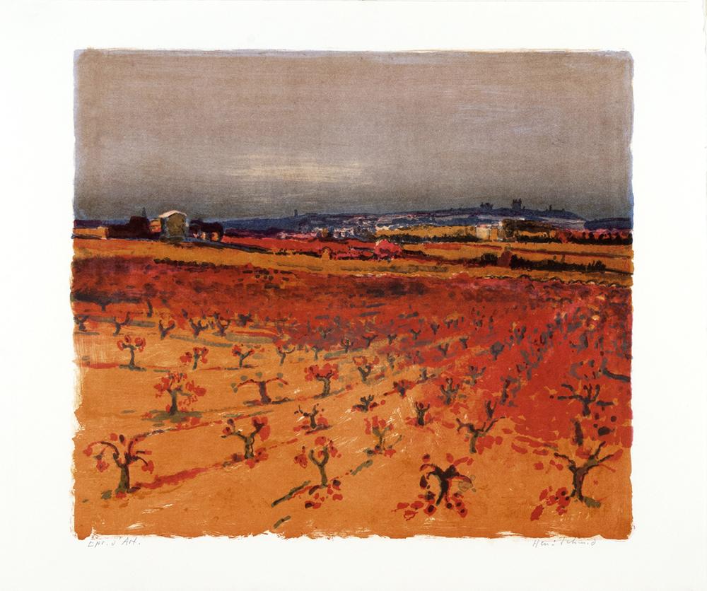 Provence? Reben rot  Lithografie, 63x78cm