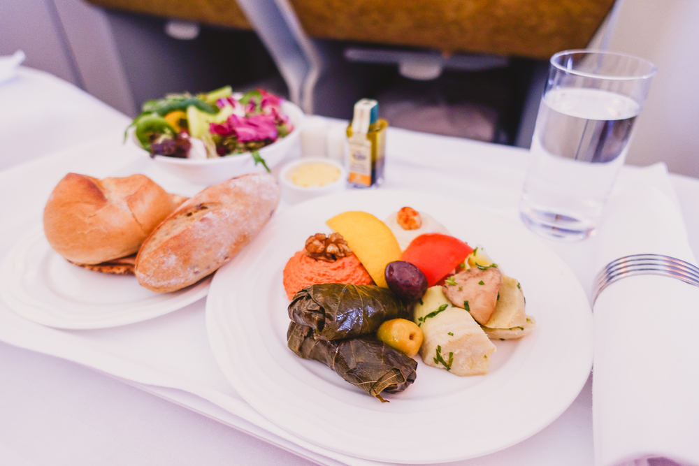 business class emirates a380 arabian mezze menu