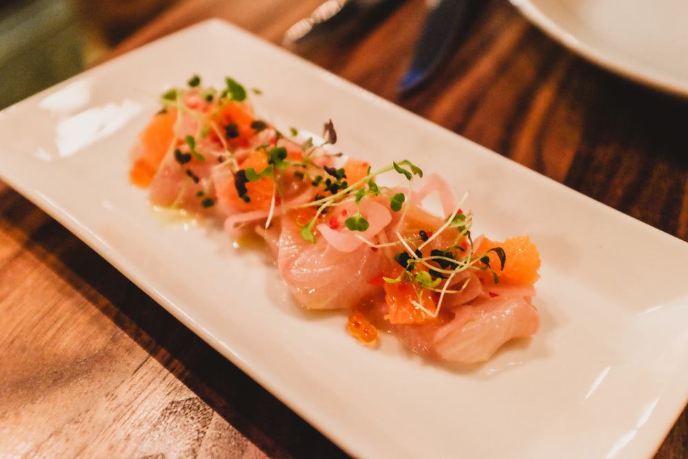 Ceviche of Hiramasa Kingfish - blood orange, ocean trout roe, baby cress