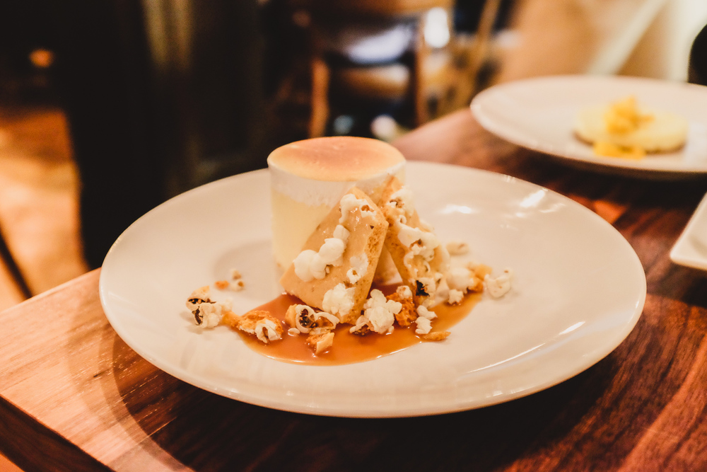 Popcorn brittle semifreddo - salted caramel and butter popcorn