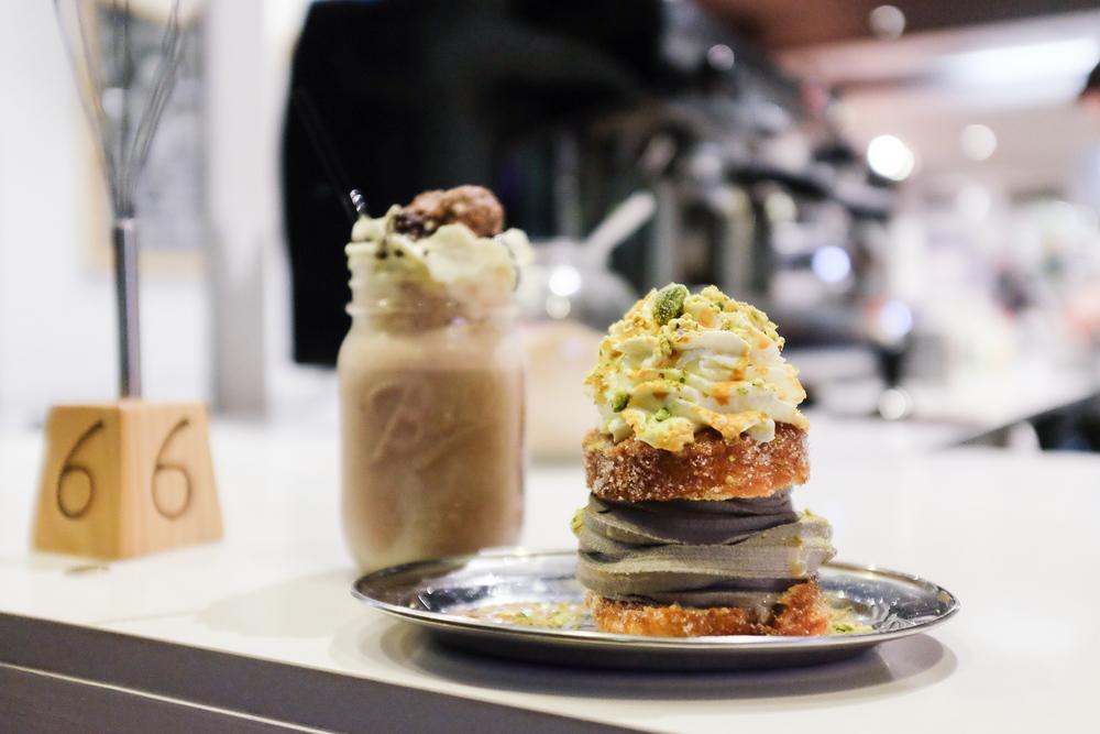 Whisk Creamery cornet sandwich milkshake black sesame