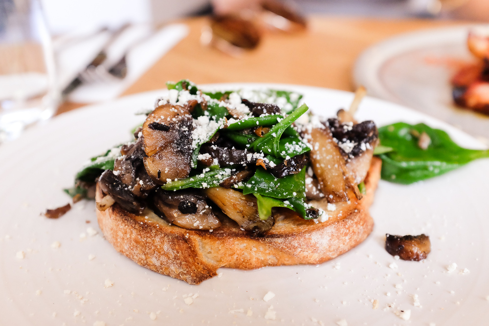 Stracciatella, roast mushrooms, warrigal greens (New Zealand Spinach) on toast ($19.00)