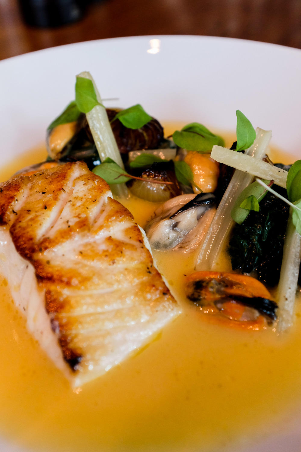 Roast Snapper in Cider (c.1940) - Silverbeet leaves, roast onions & fired mussels $56.00