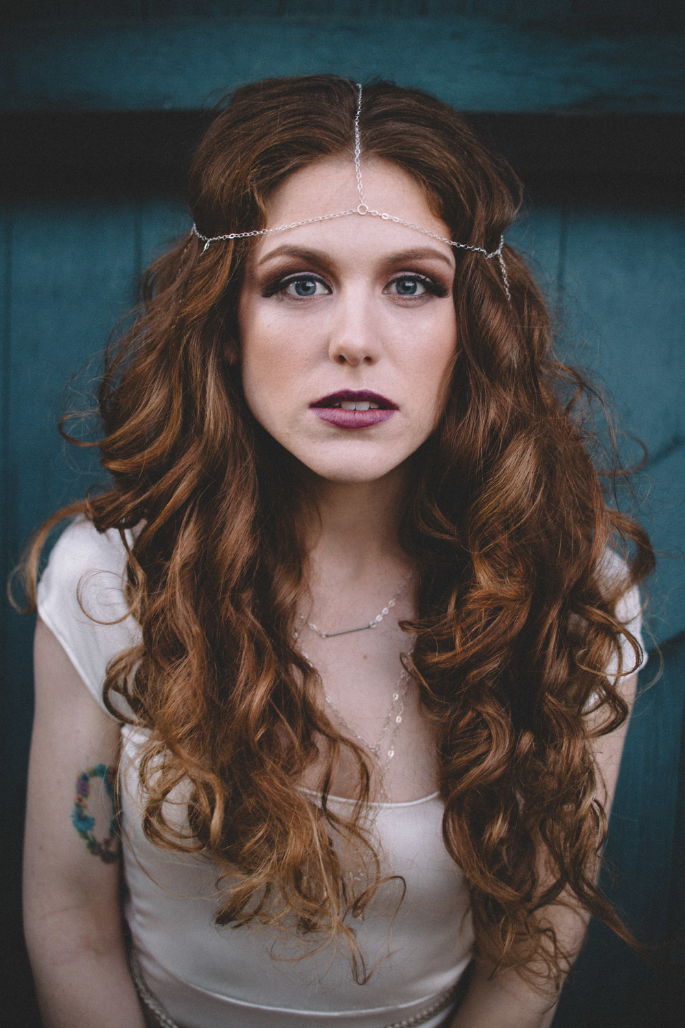 ashley in the kaia fang headpiece, remy necklace, & amoret crystal necklace--all sterling silver // photo by amanda kolstedt photography // hair by karen of iloveblush // makeup by bayla artistry