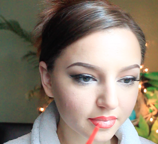 Step 11) Outline the lips with a red lip liner