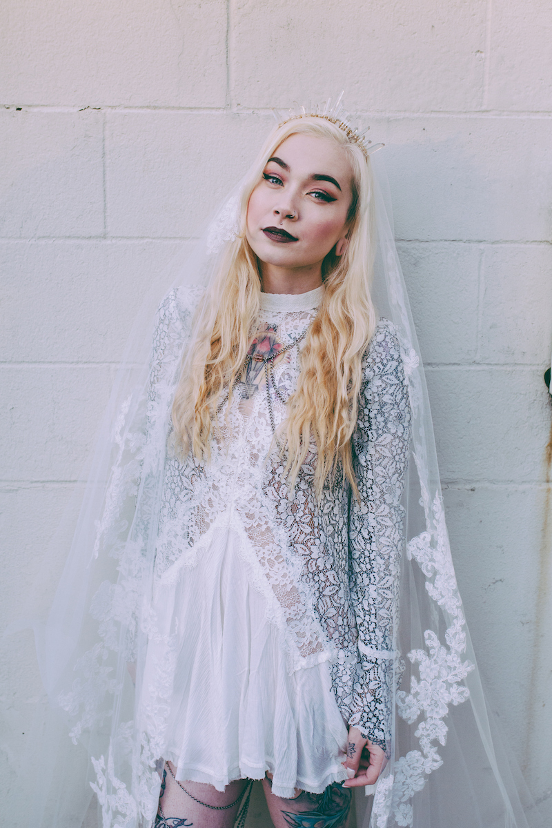the iseult crystal crown (gold/clear) + serafina lace veil by lembas