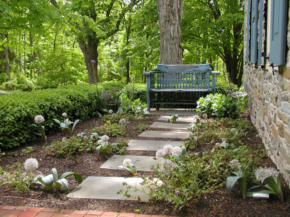 stepping stone bench garden design