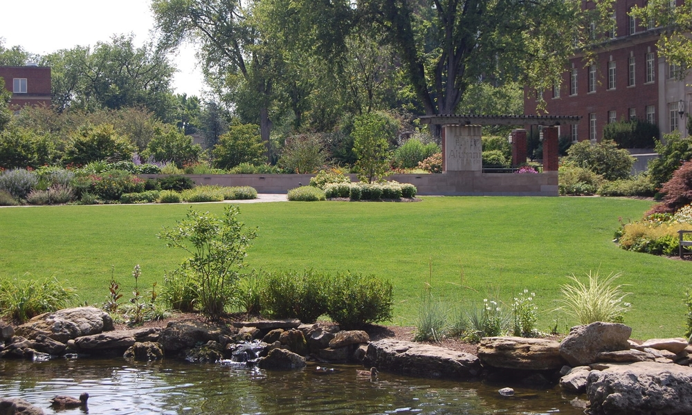 penn state university hintz family alumni center pond stream