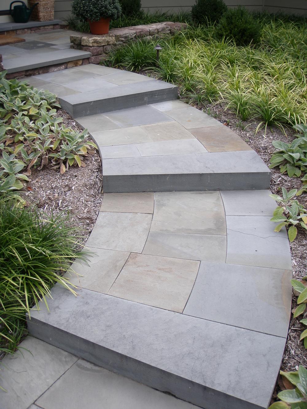 curved bluestone steps garden design