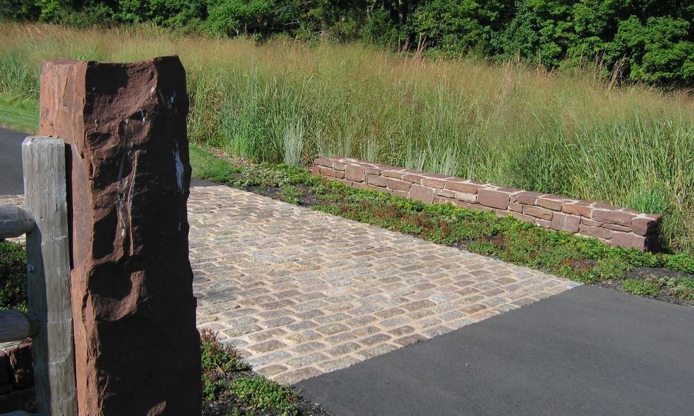 belgian block cobblestone apron natural stone fencepost