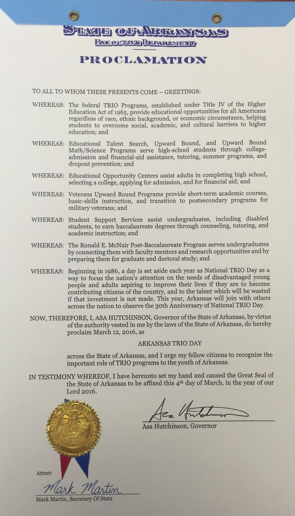 Official 2016 Arkansas TRIO Day Proclamation