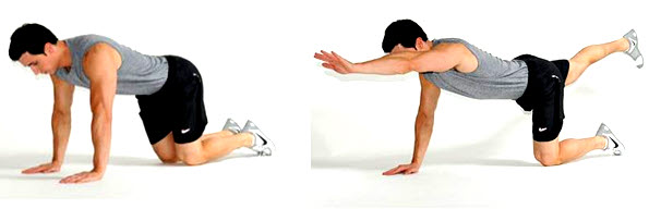 To do this exercise, start with your hands and knees on the ground.  Extend one of your arms out in front of you as far as you can while extending the opposite leg behind you.  Hold that position for 3 seconds and then slowly return to the starting position.  Repeat this for 3 sets of 10 repetitions on each side.