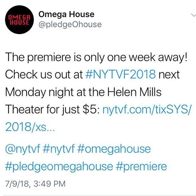 Our premiere at @nytvf is a week from tonight! 9:30 PM at the Helen Mills Theater and tix are only $5. Link in bio! . . . . . #omegahouse #pledgeomegahouse #cartoon #cartoons #animation #comedy #tvshows #indietv #indie #tv #tvpilot #pilot #fraternity #frat #brothers #bros #mutants #thebottle #apocalypse #familysquid #nytvf #nytvf2018 #mudmarc #premiere #nyc #actorslife #actorlife #vo #voiceover